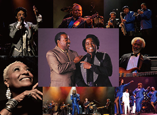 The Original James Brown Band featuring RJ and Martha High, Danny Ray, Fred Thomas, Tony Cook, The Bitter Sweets etc.