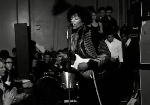 Jimi Hendrix performing live in England in 1967.