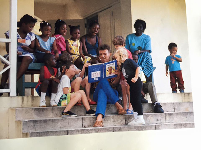 David Bowie reading to school children in Mustique