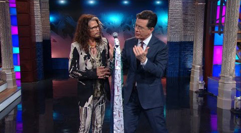 Steven Tyler Teach Stephen Colbert Microphone Stand Technique