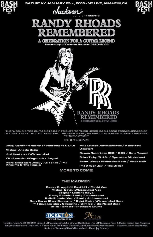 Randy Rhoads Remembered: A Celebration For A Guitar Legend 2016