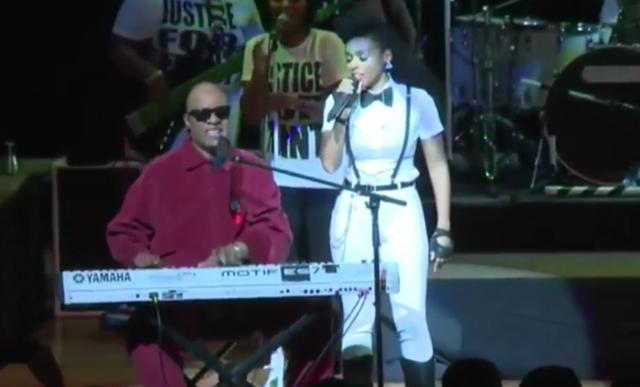 Janelle Monae and Stevie Wonder
