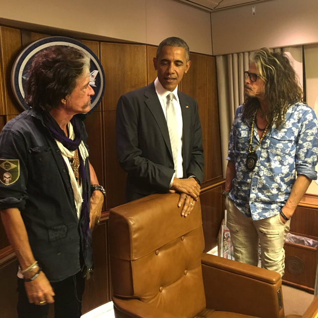 Steven Tyler, Joe Perry, President Obama on Air Force One