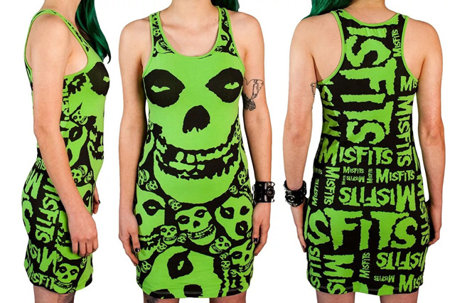 The Misfits Skull and Logo All Over Print Ladies Racerback Tank Dress