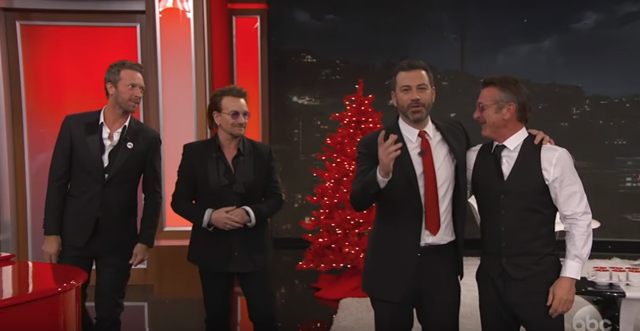 Bono and Chris Martin Sing 'One for My Baby' with Sean Penn Cameo - Jimmy Kimmel Live