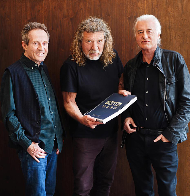 John Paul Jones, Robert Plant and Jimmy Page photographed in May 2018