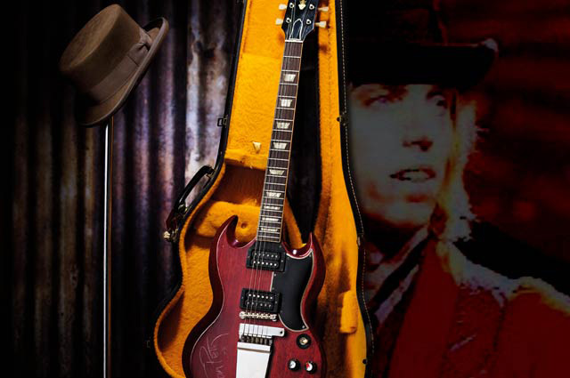 Tom Petty Stage Played 1965 Gibson SG Cherry Electric Guitar and Hat Worn