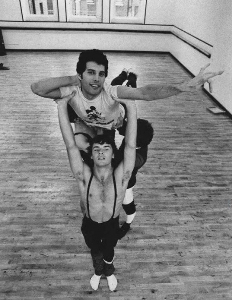 Freddie Mercury training with members of The Royal Ballet (London) in 1979