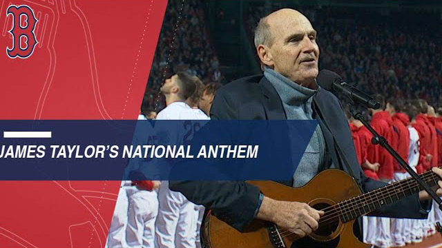 James Taylor performs the national anthem before Game 1 of the World Series 2018