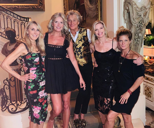 Rod Stewart with 4 Mothers of 7 of His Children