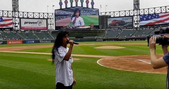 Joey Belladonna singing the National Anthem