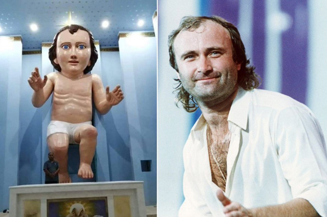 Baby Jesus Statue and Phil Collins