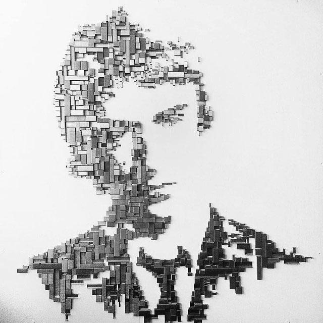 Paul Weller - Art made from Staples - Rob O'Brien