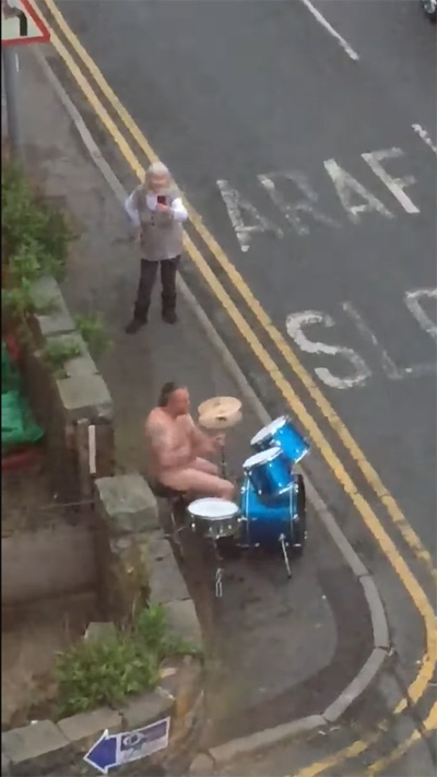 naked man's drum solo