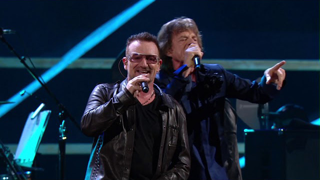 U2 and Mick Jagger at the 25th Anniversary concert.