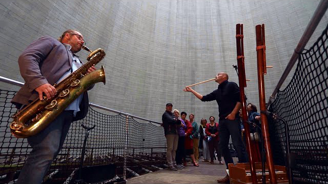 Testing the Sound Inside a Huge Coolingtower! Baritone Saxophone and Overtone flute Duo Improv