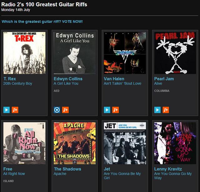 BBC Radio 2's 100 Greatest Guitar Riffs