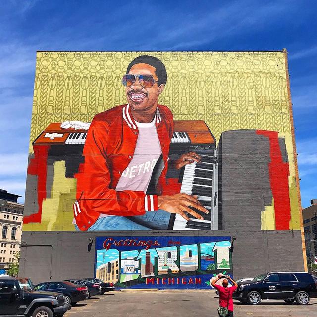 Stevie Wonder mural @ Music Hall Center for Performing Arts in Detroit