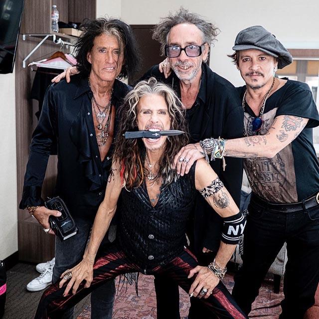 Joe Perry, Steven Tyler, Tim Burton, Johnny Depp - Photo by Ross Halfin Photography