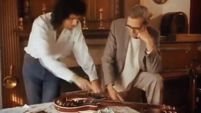 Brian May and his Dad, Harold May showing Red Special Guitar