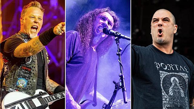 Metallica (photo by Philip Cosores), Slayer (photo by Antonio Marino Jr.), Pantera (photo by Amy Harris)